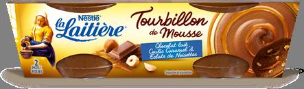 Tourbillon de Mousse Chocolat au Lait, Coulis Caramel & Éclats de Noisettes